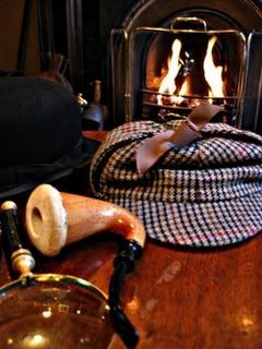Sherlock Holmes Hat, Pipe, Mag Glass, Fireplace
