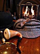 Medium Size Sherlock Holmes Hat, gloves, fireplace photo