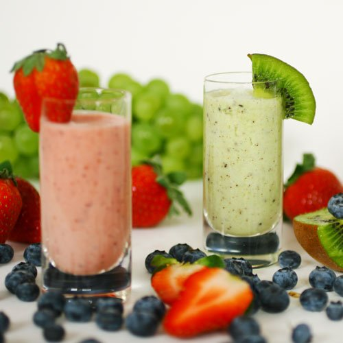 Two Beautiful And Delicious Looking Fruit Smoothies.